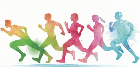 Watercolor running people, group of people running together. Rainbow watercolor style.
