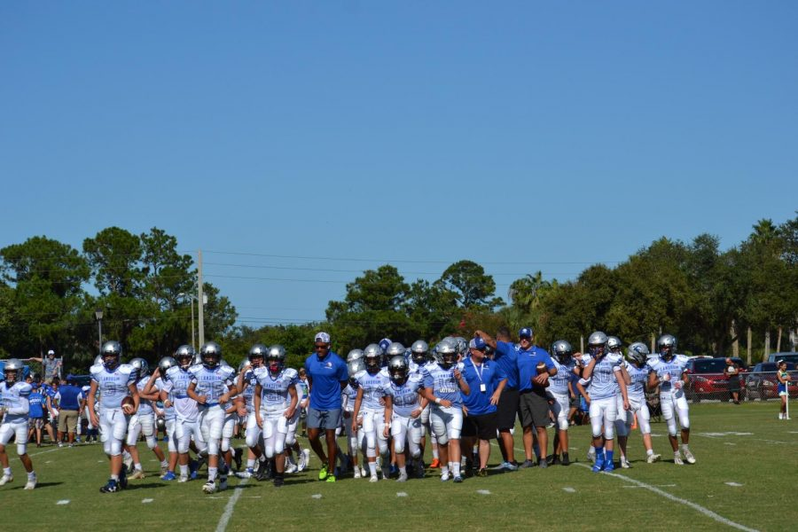 LMS Football team takes the field against Pacetti Bay August 21, 2019.