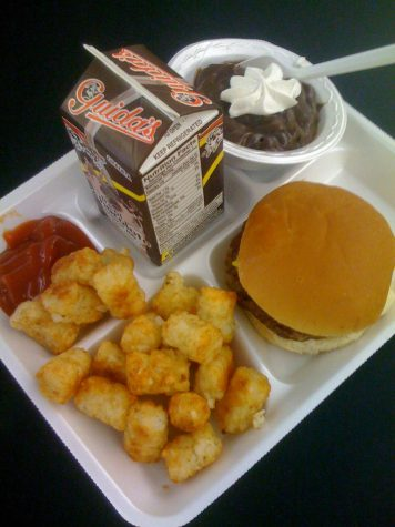 Typical school lunch tray.