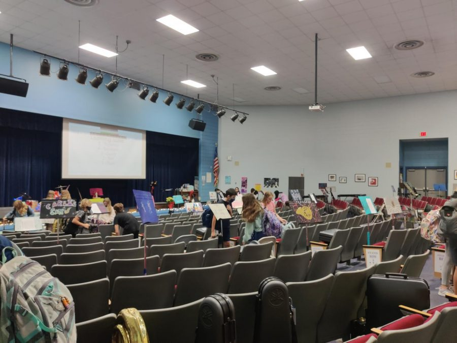 The auditorium is currently the band room during Covid restrictions.